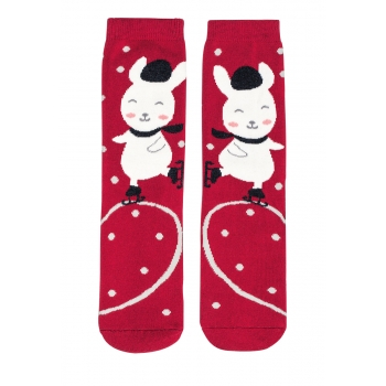 Bunny Socks in a ball red
