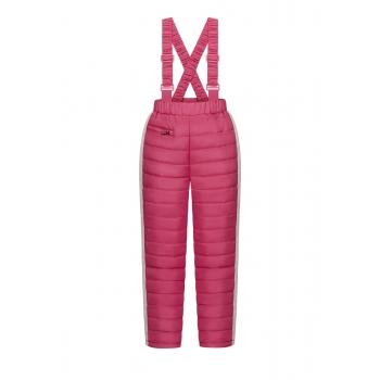 Утепленные брюки на лямках для девочки цвет ягодный