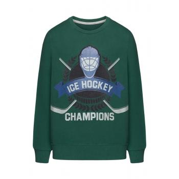 Trikotāžas džemperis zēnam tumši zaļā krāsā ar apdruku