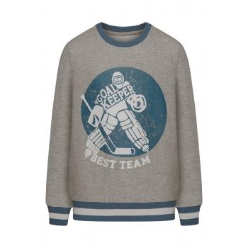 Trikotāžas džemperis zēnam pelēkas melanžas krāsā ar apdruku