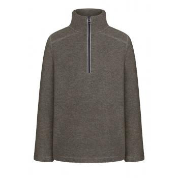 Džemperis zēnam no flīsa auduma pelēkas melanžas krāsā