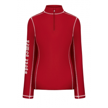 Zipped Neck Jumper red