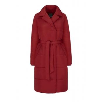 Утеплене стьобана пальто колір темночервоний