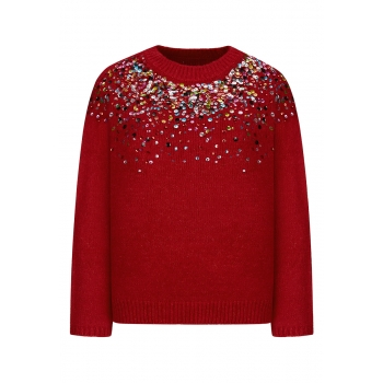 Multicolor Paillette Jumper dark red