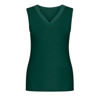 Satin Trimmed Top emerald