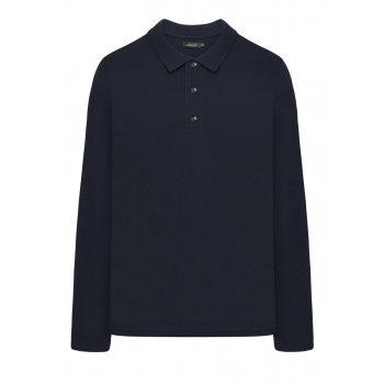 Light Jersey Polo Neck Jumper for men dark blue