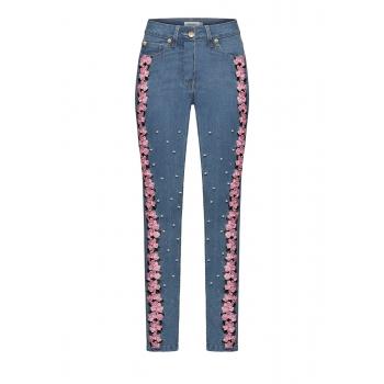Брюки из джинсовой ткани цвет голубой