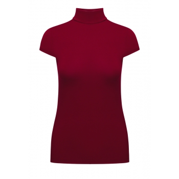Short Sleeve Turtleneck cherry