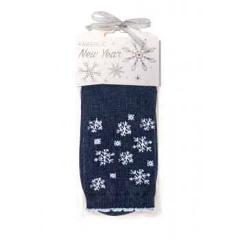 Snowflakes Wool Socks in gift packaging blue