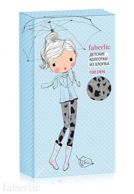 Leopard patterned tights for kids 100 DEN grey