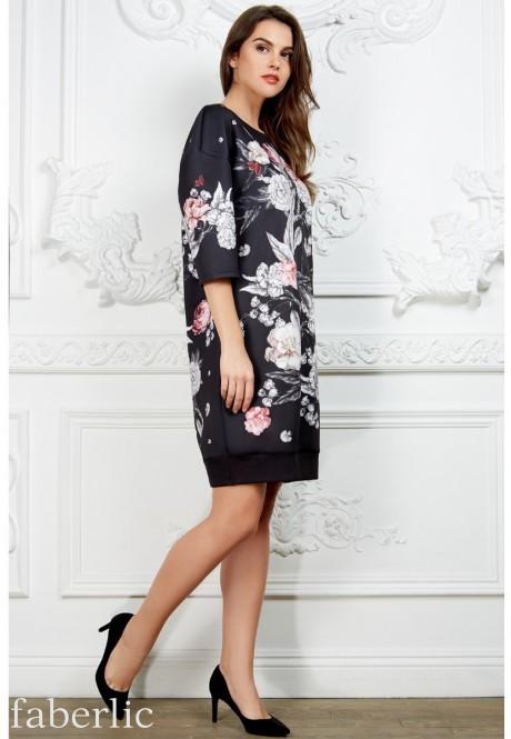 75648370f00f Трикотажное платье с рукавом 3/4, цвет чёрный 84256 - 84264 купить ...
