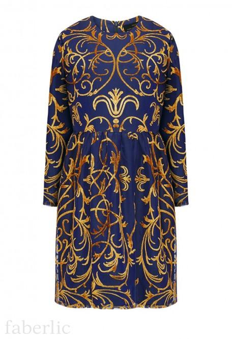 Платье с длинным рукавом для девочки цвет темносиний