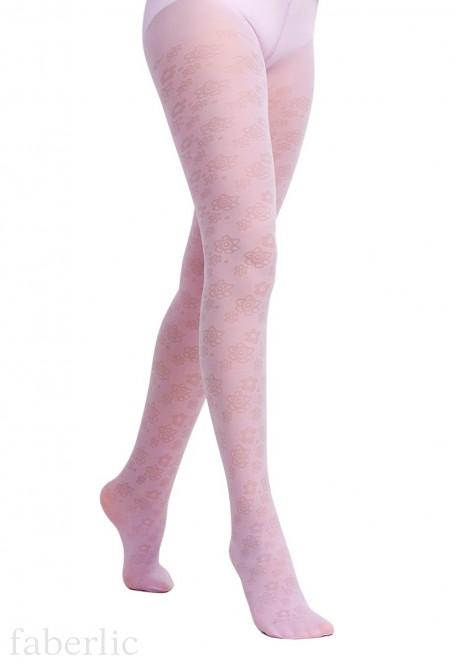 Fantasy style kids tights with a floral jacquard pattern SD128 20 den lilac