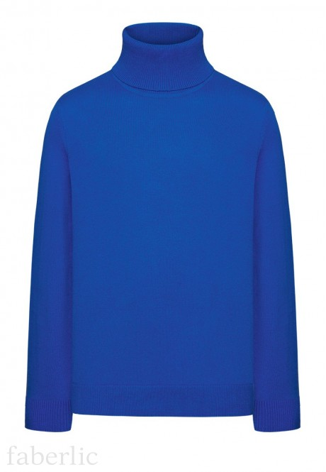 Boys High Collar Knit Jumper bright blue