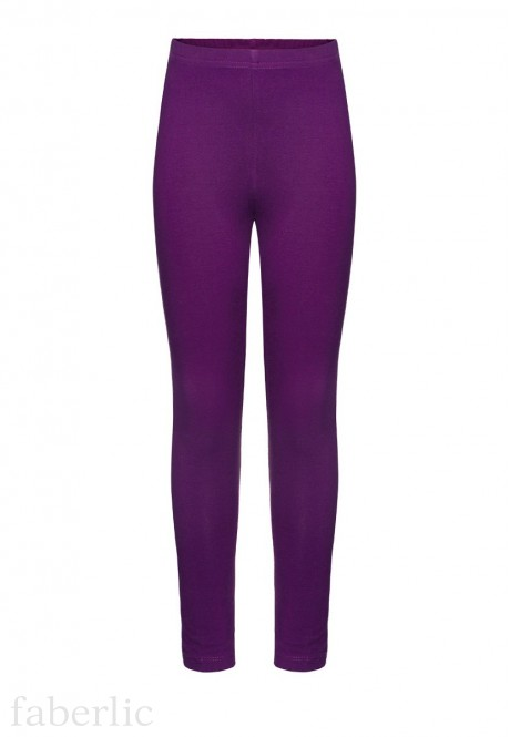 Jersey skinny trousers for girl plum