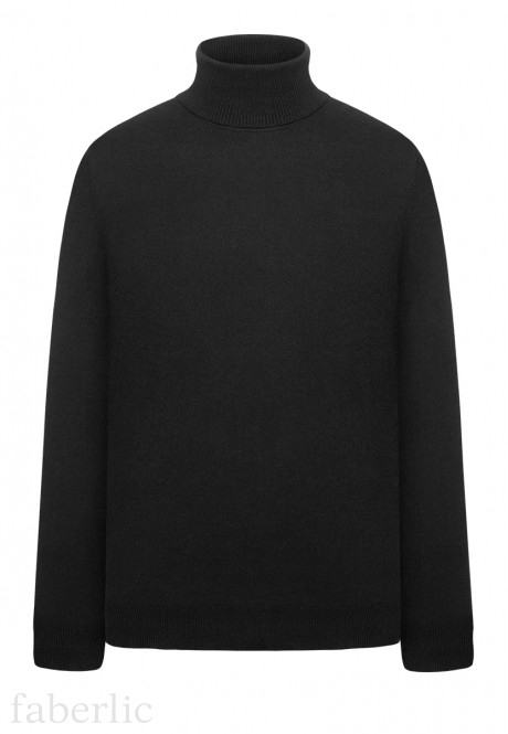 Mens Knit Turtleneck Jumper black