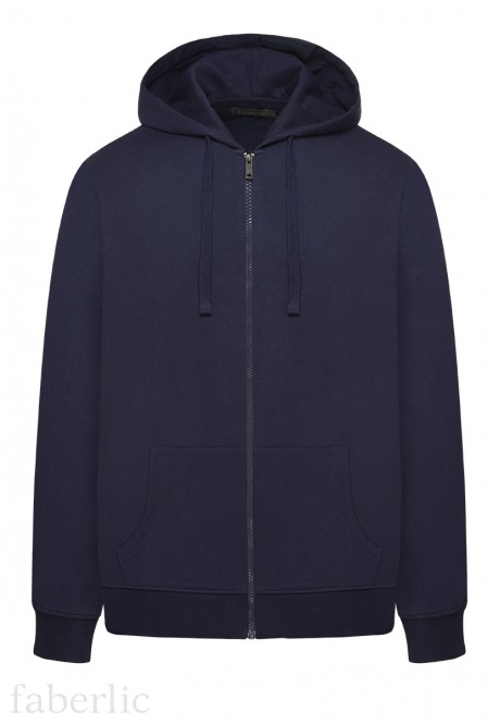 Mens ZipThrough Hooded Jersey Sweatshirt dark blue