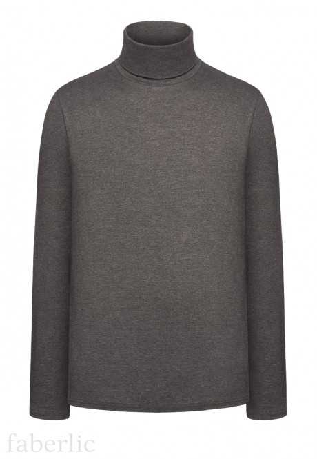 Knitted Turtleneck dark grey melange