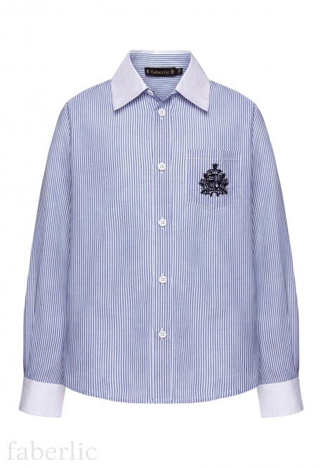 Striped embroidered shirt for boy light blue