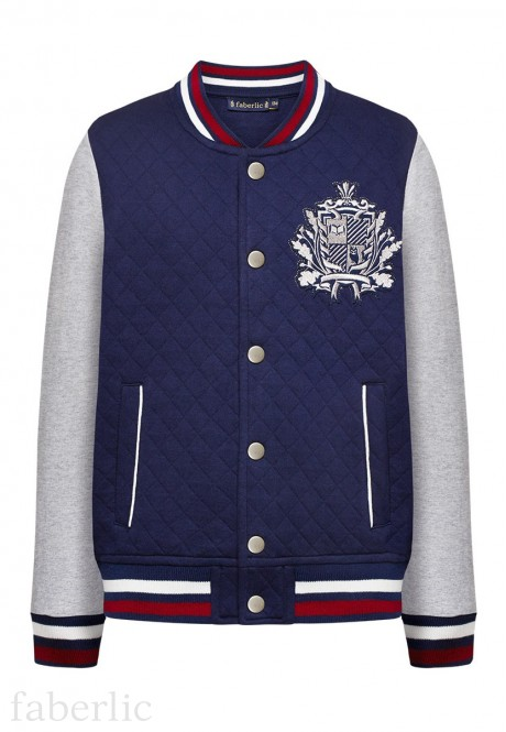 Embroidered jersey bomber for boy dark blue