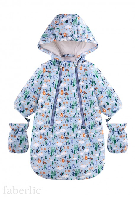 147B4201 Babys Insulated Coverall printed blue