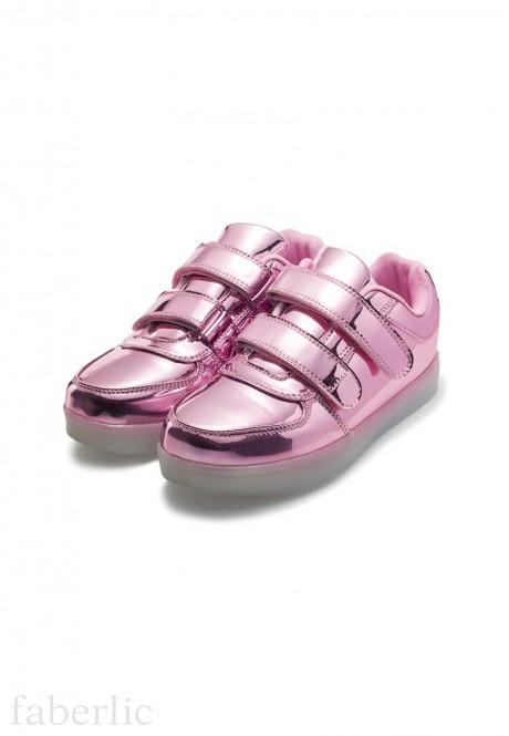Кроссовки со светодиодами для девочек розовые