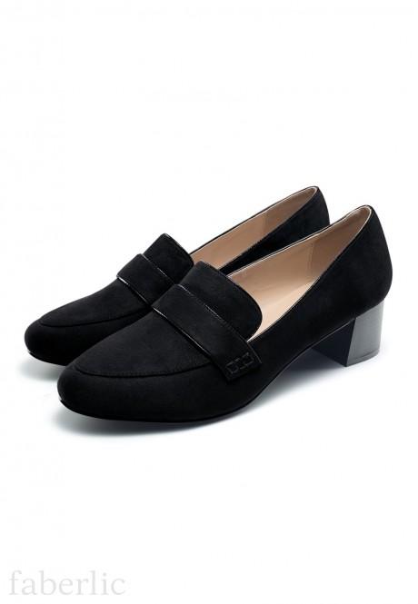 Womens Olivia block heel loafers black