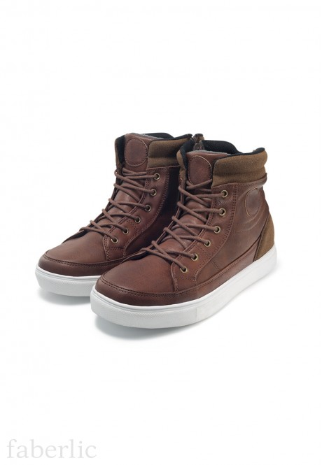 Boys high top sneakers brown