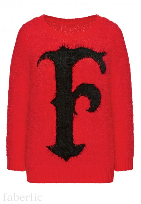 Knit pattern jumper red