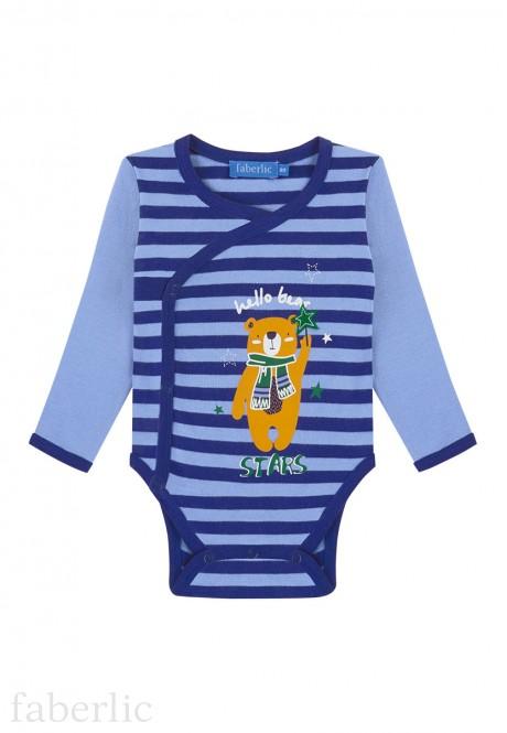 Baby Boy jersey kimono bodysuit dark blue