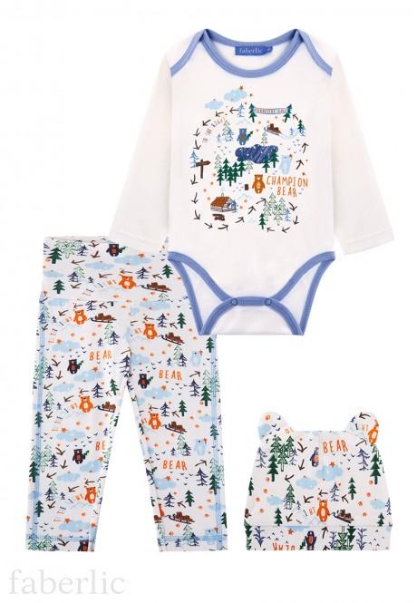 Трикотажный комплект из трех предметов для мальчика цвет молочный