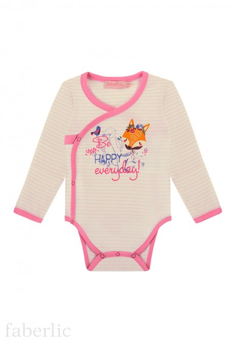 Baby Girl striped jersey kimono bodysuit with a print motif light pink