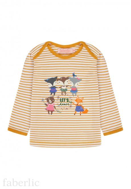 Baby Girl striped print Tshirt amber