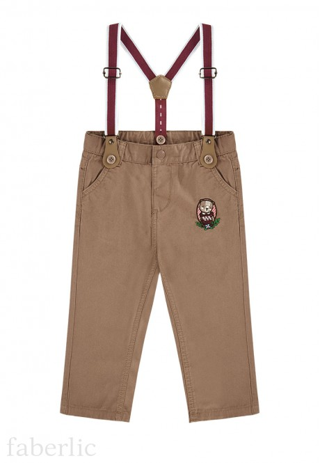 Baby Girl embroidered suspender pants amber