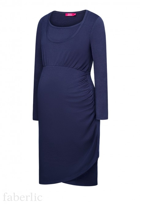 Womens long sleeve jersey dress blue