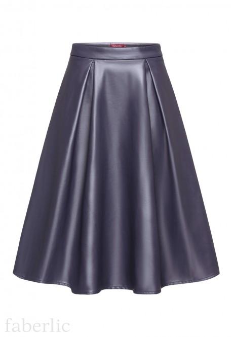 Удлиненная юбка из экокожи цвет серофиолетовый