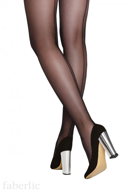 SD414 Back seam tights 40 den black