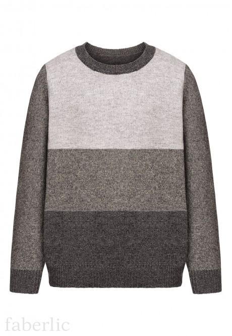 167B2302 Adīts džemperis zēnam grafīta krāsā