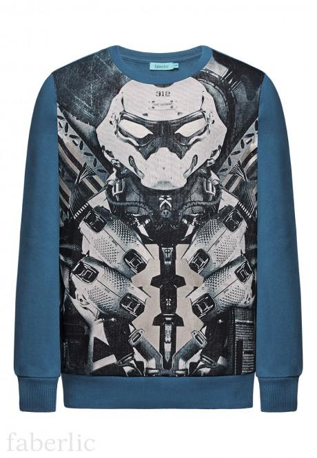 167B2502 Trikotāžas džemperis zēnam tumšā tirkīza krāsā ar apdruku