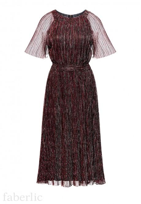 Длинное гофрированное платье цвет графитовый
