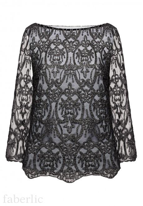 Блузка с люрексом цвет черный