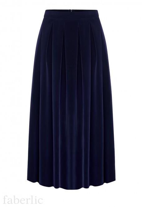 Удлиненная юбка цвет темносиний
