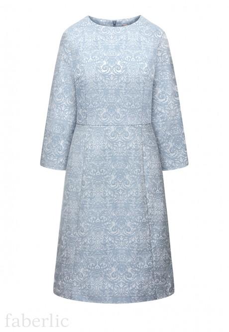 Платье с укороченным рукавом для женщины цвет голубой