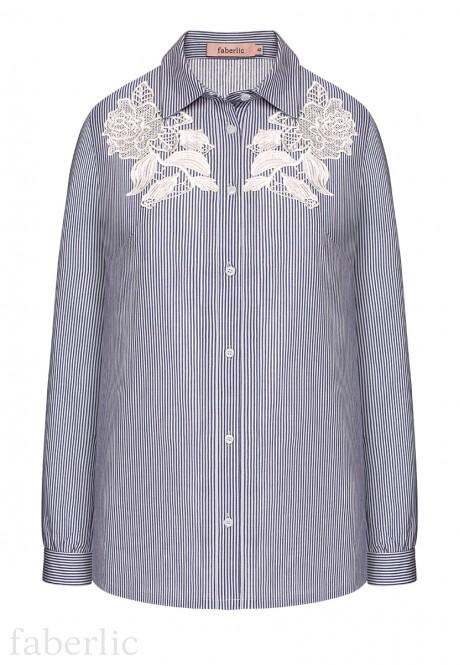 Блузка с длинным рукавом для женщины цвет темносинийбелый