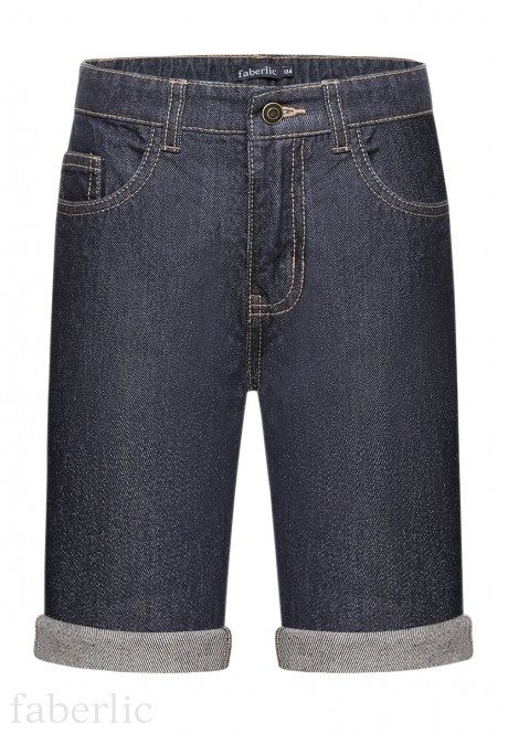 Boys Denim Turnup Shorts dark blue