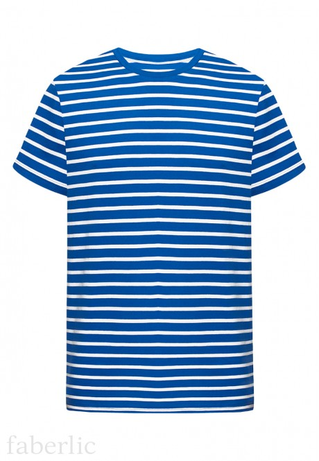 Mens striped Tshirt bright blue