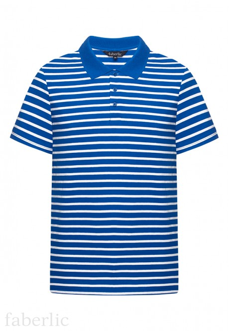 Mens Striped Polo Shirt bright blue