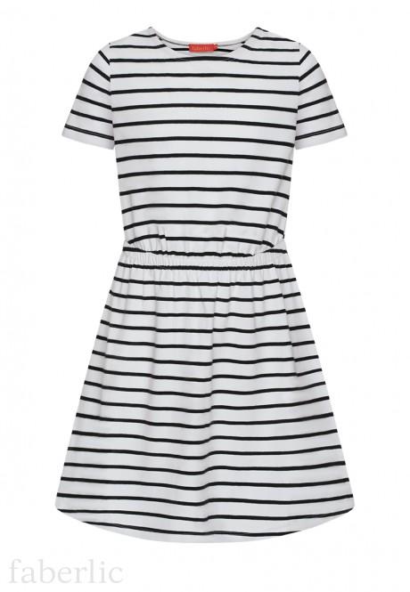 Girls Striped Dress white
