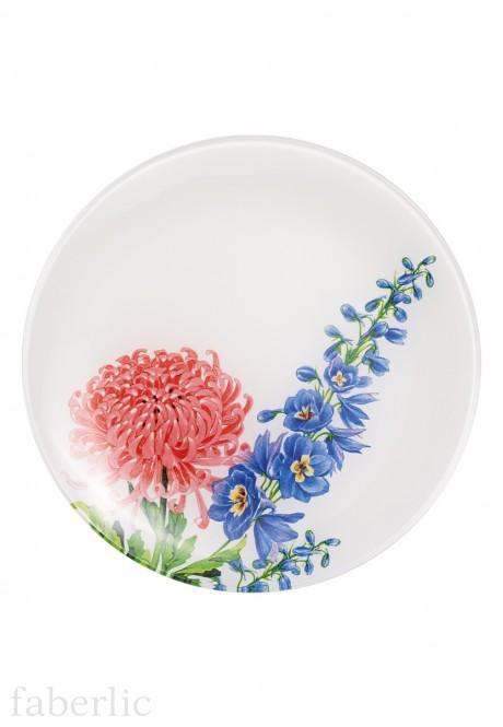 Стеклянная тарелка Цветочная коллекция диаметр 20 см