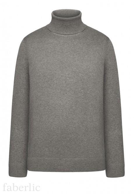 Adīts džemperis vīrietim pelēkas melanžas krāsā